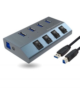 هاب 4 پورت USB 3.0 با آداپتور دار