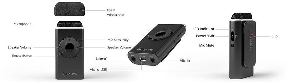 مشخصات میکروفون کریتیو iRoar Mic