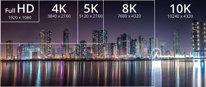 مقایسه تصویر 10k و 8K و 4K